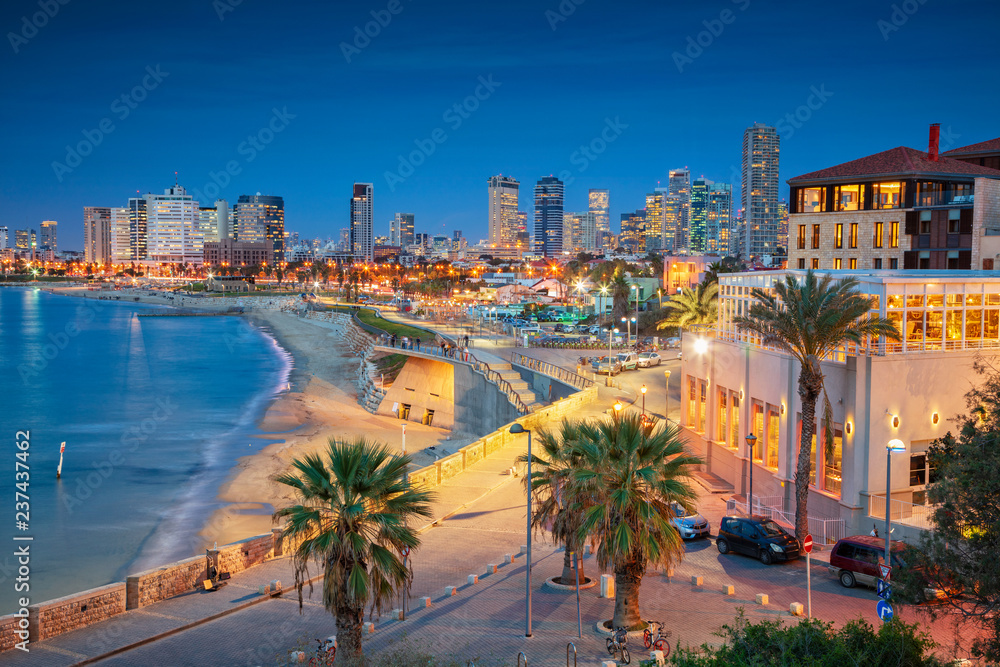Tel Aviv Skyline. Cityscape image of Tel Aviv, Israel during sunset.