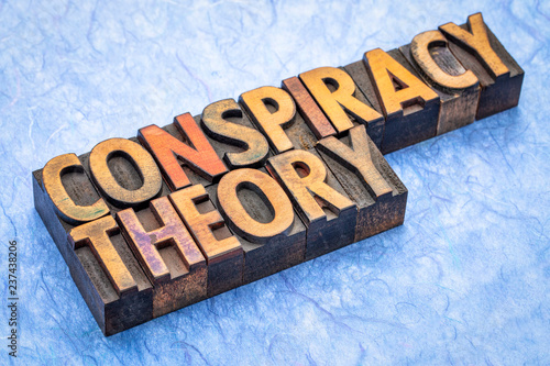 Fotografie, Obraz  conspiracy theory text in wood type