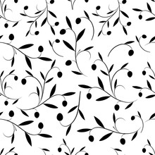 Seamless Pattern Of Olive Bran...