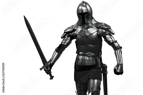 knight in armor with sword in hand on white background 3D render Canvas Print