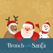 Fun Seasonal Poster. Cartoon Quirky Santa Claus, Reindeer, Frosty Snowman . Christmas Breakfast Enjoy For Kids. Family Togetherness On Holiday Celebration Flyer. Vector New Year Menu Banner Template