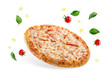 canvas print picture Pizza with cheese and tomato sauce isolated