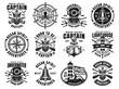 Nautical set of twelve vector vintage emblems