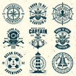 Nautical set of nine vector vintage style emblems
