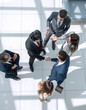 canvas print picture from the top view. business meeting partners