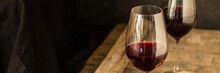 Wine, Red Wine, Transparent Glass On A Wooden Table, A Gift. Top View. Copy Space