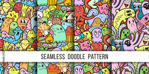 Obraz na plátně  Collection of funny doodle monsters seamless pattern for prints, designs and col