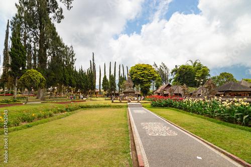 Territory of temple Pura Ulun Danu Beratan. Famous temple on the lake, Bedugul, Bali, Indonesia.