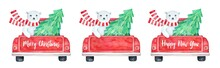 Holiday Season Set Of Pickup Truck With Christmas Tree And Polar Bear Character. Traditional Red And Green Colours. Use Blank Variation To Add Your Text Or Wishes. Watercolour Art Painting On White.