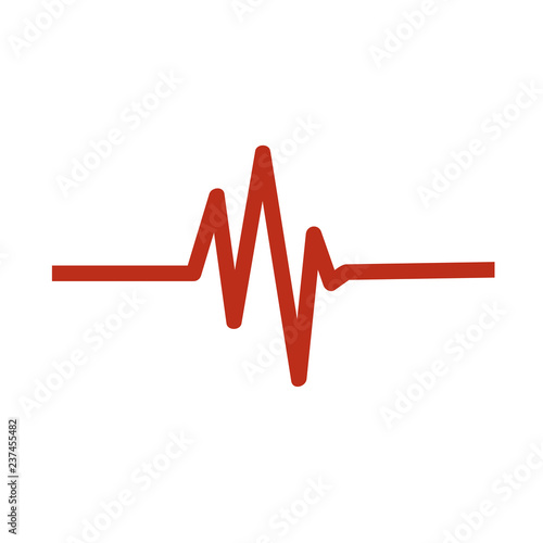 Fotografía  Heart beat monitor pulse line art vector icon for medical apps and websites