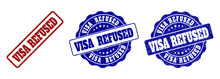 VISA REFUSED Grunge Stamp Seals In Red And Blue Colors. Vector VISA REFUSED Signs With Scratced Surface. Graphic Elements Are Rounded Rectangles, Rosettes, Circles And Text Tags.