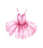 Różowa sukienka baletowa. Akwarela ilustracja na białym tle. - 237460010