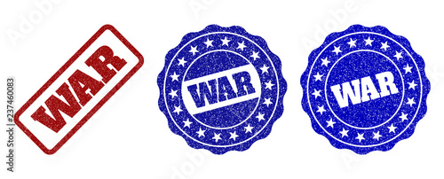 WAR scratched stamp seals in red and blue colors Canvas Print