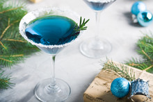 Christmas Party Composition Drink Gift Box In Blue Colors