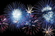 Flashes Of Blue, White And Pink Fireworks