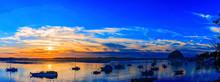 Panorama Sunset In Morro Bay, CA