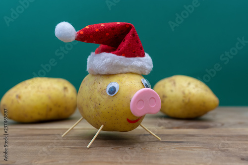 pig in christmas hat made of potato. symbol of 2019 фототапет