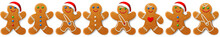 Christmas Vector Border And Ornament From Gingerbreads Mans -- Sweet Cookies, Isolated On White Background