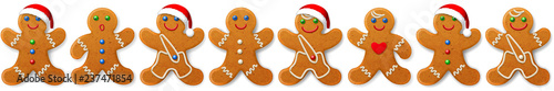 Christmas vector border and ornament from gingerbreads mans -- sweet cookies, is Fototapet