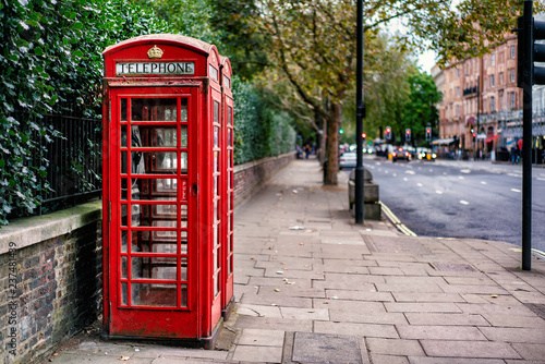 Fotografie, Obraz  Traditional Red Telephone Box in London city in England