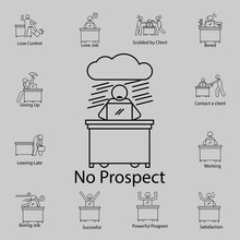 Worker In No Prospect Icon. Detailed Set Of People In The Work Icons. Premium Graphic Design. One Of The Collection Icons For Websites, Web Design, Mobile App