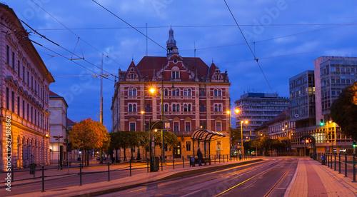 Deurstickers Europese Plekken Szeged streets in night lights