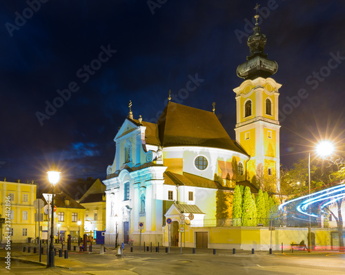 Fotobehang Europa Image of night streets of Gyor in Hungary