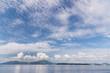 Corfu Island Greece and clouds over it.