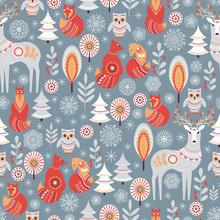 Seamless Pattern With Winter F...