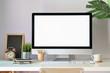 canvas print picture - Mockup modern blank screen desktop computer on stylish workspace.