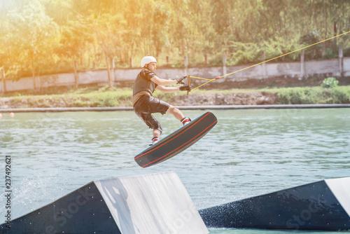Fotografie, Obraz  wakeboarding at the wake park