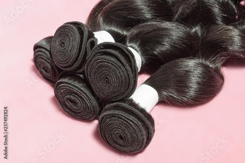 Photo Loose wavy spiral black human hair weaves extensions bundles