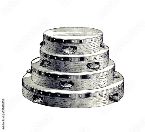 Canvas Print Illustration of a tambourine