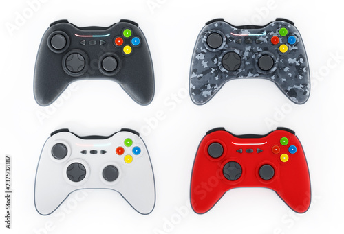 Generic game controllers isolated on white background Poster Mural XXL