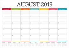 August 2019 Desk Calendar Vect...
