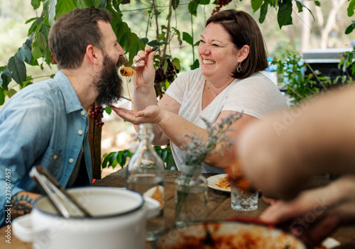 Family having a pasta dinner