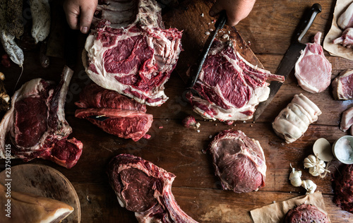 Papiers peints Viande Various cuts of beef food photography recipe idea