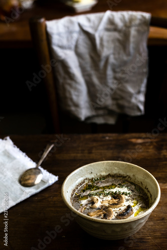 Homemade mushroom soup food photgraphy recipe idea
