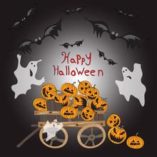 Halloween Pumpkin In A Wagon Bats Perfume Illustration
