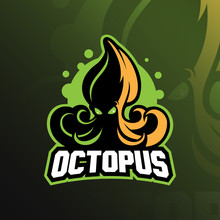 Octopus Sport Mascot Logo Design Illustration, Tshirt And Emblem.