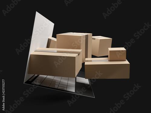 Fototapeta online shopping packages delivery 3d-illustration obraz na płótnie