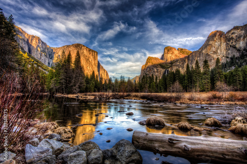 Yosemite Valley View at Sunset, Yosemite National Park, California Wallpaper Mural