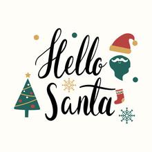 Hello Santa Christmas Greeting Badge Vector