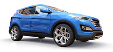 Compact City Crossover Blue Color On A White Background. 3d Rendering.