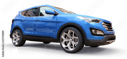 Foto op Canvas Cartoon cars Compact city crossover blue color on a white background. 3d rendering.