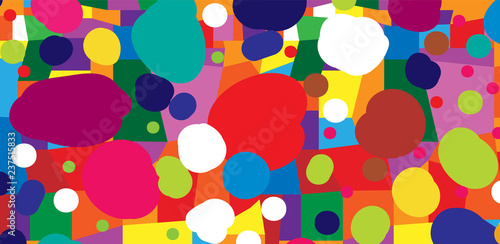Fotografie, Obraz Abstract colored background from blots and geometric shapes