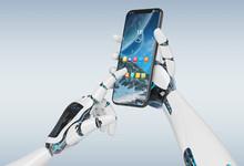 White Robot Hand Holding Smart...
