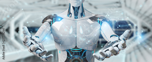 Photo White man robot using digital network connection 3D rendering