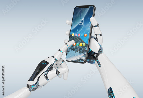 White robot hand holding smartphone mockup 3d rendering Canvas Print