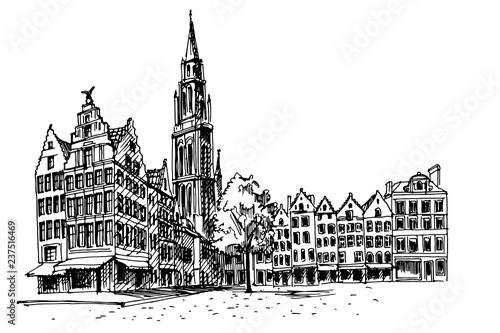 Stickers pour portes Antwerp Grote Markt square in Antwerpen, Belgium.